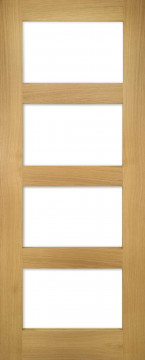 Image of Coventry Shaker 4 Clear Glazed Oak Door